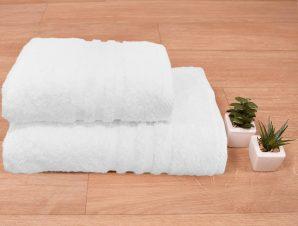 Πετσέτα Σώματος Λευκή (70×140) Hotel Ριγέ Φάσα 550gr/m2