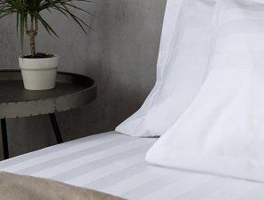 Σεντόνι Ξενοδοχείου Μονό Με Σατέν Ρίγα 4,5cm Anesis 100% Βαμβάκι Πενιέ 300 TC 160×280